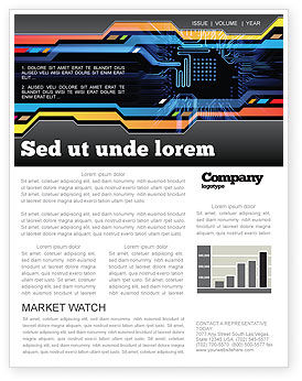 Computer Scheme Newsletter Template, 05453, Technology, Science & Computers — PoweredTemplate.com