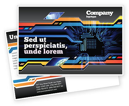 Technology, Science & Computers: Computer Scheme Postcard Template #05453