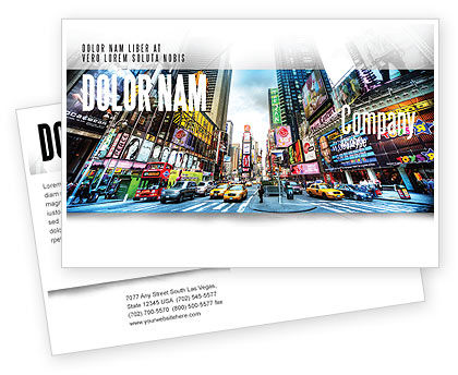 Times Square Postcard Template, 05456, Construction — PoweredTemplate.com