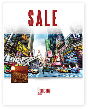 Times Square Sale Poster Template, 05456, Construction — PoweredTemplate.com