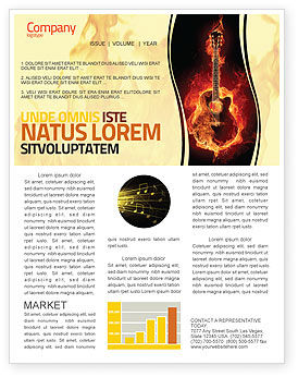 Jazz Guitar Newsletter Template, 05536, Art & Entertainment — PoweredTemplate.com
