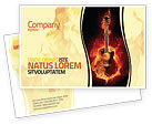 Art & Entertainment: Jazz Guitar Postcard Template #05536