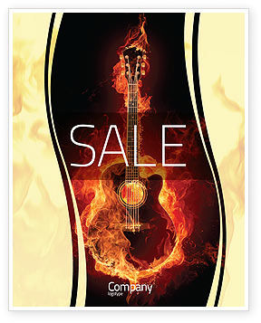 Jazz Guitar Sale Poster Template, 05536, Art & Entertainment — PoweredTemplate.com