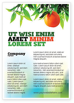 Agriculture and Animals: Orange Tree Ad Template #05547
