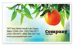 Agriculture and Animals: Orange Tree Business Card Template #05547