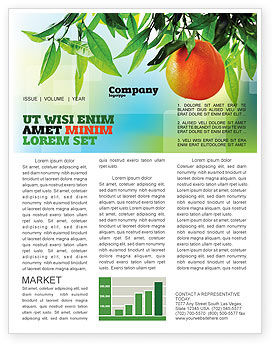 Orange Tree Newsletter Template, 05547, Agriculture and Animals — PoweredTemplate.com