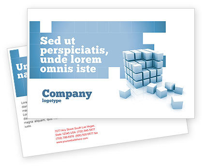 Construction: Cube Postcard Template #05571
