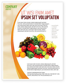 Fruits and Vegetables Flyer Template, 05579, Agriculture and Animals — PoweredTemplate.com