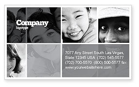 Kids In Black And White Colors Business Card Template, 05591, People — PoweredTemplate.com
