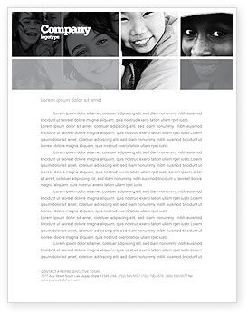Kids In Black And White Colors Letterhead Template, 05591, People — PoweredTemplate.com