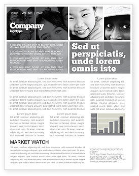 Kids In Black And White Colors Newsletter Template, 05591, People — PoweredTemplate.com