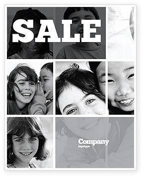 Kids In Black And White Colors Sale Poster Template, 05591, People — PoweredTemplate.com