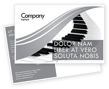 Piano Postcard Template, 05616, Careers/Industry — PoweredTemplate.com
