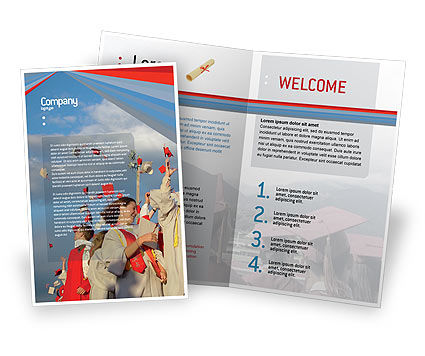 Graduation In Red Blue Colors Brochure Template, 05620, Education & Training — PoweredTemplate.com