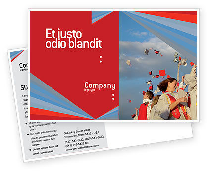 Graduation In Red Blue Colors Postcard Template, 05620, Education & Training — PoweredTemplate.com