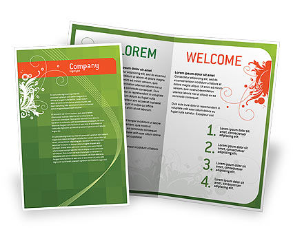 Art & Entertainment: Green Background With White Vegetative Decor Brochure Template #05621
