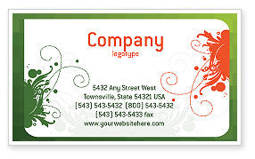 Art & Entertainment: Green Background With White Vegetative Decor Business Card Template #05621