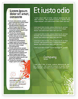 Art & Entertainment: Green Background With White Vegetative Decor Flyer Template #05621