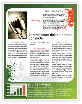 Art & Entertainment: Green Background With White Vegetative Decor Newsletter Template #05621