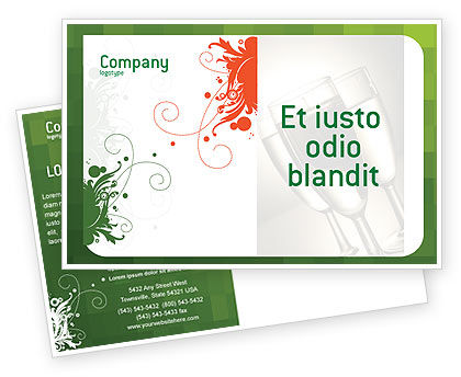 Art & Entertainment: Green Background With White Vegetative Decor Postcard Template #05621
