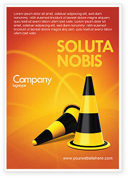 Traffic Cones Ad Template, 05631, Construction — PoweredTemplate.com