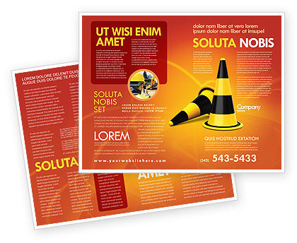 Traffic Cones Brochure Template, 05631, Construction — PoweredTemplate.com