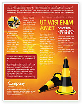 Construction: Traffic Cones Flyer Template #05631
