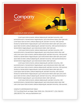 Construction: Traffic Cones Letterhead Template #05631