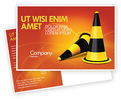 Construction: Traffic Cones Postcard Template #05631