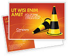 Construction: Traffic Cones Postcard Template #05631