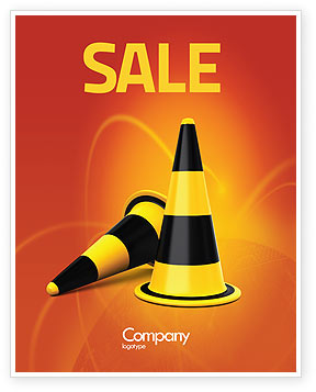 Traffic Cones Sale Poster Template, 05631, Construction — PoweredTemplate.com