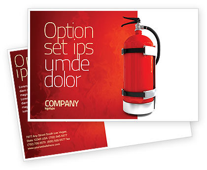Fire Extinguisher Postcard Template, 05641, Careers/Industry — PoweredTemplate.com