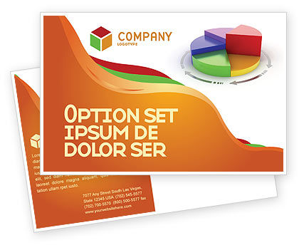 3D Pie Diagram Postcard Template, 05649, Consulting — PoweredTemplate.com