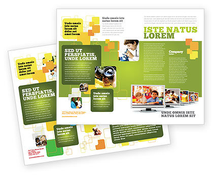 Kids Computer Brochure Template, 05659, Education & Training — PoweredTemplate.com