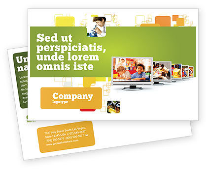 Kids Computer Postcard Template, 05659, Education & Training — PoweredTemplate.com