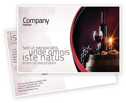 Wine Bottle Postcard Template In Microsoft Word Adobe InDesign - Postcard advertising template