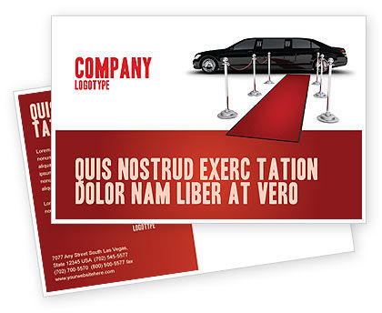 Art & Entertainment: Limousine Postcard Template #05720