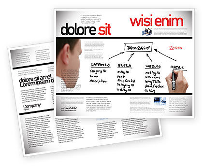 Database Brochure Template, 05734, Technology, Science & Computers — PoweredTemplate.com
