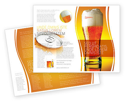 Goblet Of Beer Foaming Brochure Template, 05748, Food & Beverage — PoweredTemplate.com