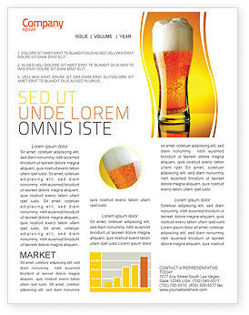 Goblet Of Beer Foaming Newsletter Template, 05748, Food & Beverage — PoweredTemplate.com