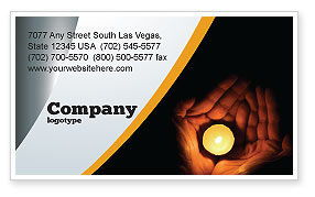 Religious/Spiritual: Candle In Hands Business Card Template #05771