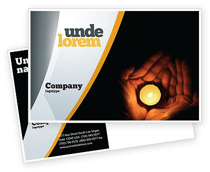 Candle In Hands Postcard Template, 05771, Religious/Spiritual — PoweredTemplate.com
