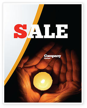 Candle In Hands Sale Poster Template, 05771, Religious/Spiritual — PoweredTemplate.com
