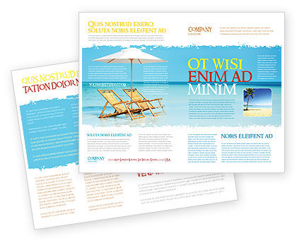 Beach Bench Brochure Template, 05791, Careers/Industry — PoweredTemplate.com