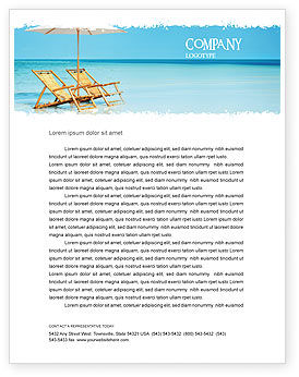 Holiday/Special Occasion: Beach Bench Letterhead Template #05791