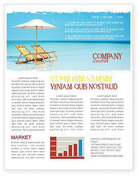 Beach Bench Newsletter Template, 05791, Careers/Industry — PoweredTemplate.com
