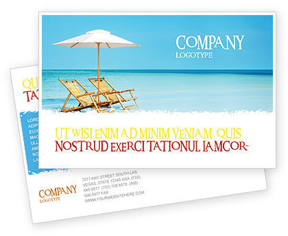 Beach Bench Postcard Template, 05791, Careers/Industry — PoweredTemplate.com