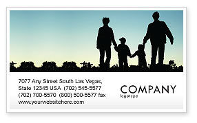 People: Family Walk Business Card Template #05802