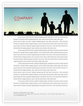 People: Family Walk Letterhead Template #05802