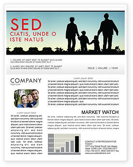 People: Family Walk Newsletter Template #05802